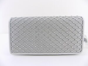 ADRIANNA PAPELL SIGRID Silver STONE NET SMALL Clutch HANDBAG