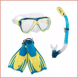 4 pc - Speedo ADULT Hydroscope PERFORMANCE Snorkel  FINS MASK - BLUE S/M or L/XL