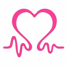 Two (2) Breast Cancer Awareness Heartbeat Car Wall Vinyl Sticker Decal Window