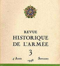 REVUE HISTORIQUE DE L'ARMEE 1948 4ème année N°3