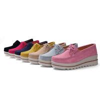 Women Suede Slip On Wedge Heel Shoes Casual Sneakers Loafers Platform Hidden