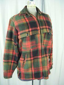 JOHNSON WOOLEN MILLS Vtg 50s Red/Green Plaids Wool Men Jacket-Bust 39/S