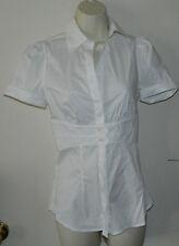 New Women BCBG Max Azria Solid White Button Down Shirt Casual Work Size XXS $118