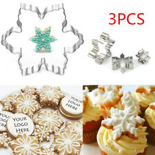 3PCS Snowflake Biscuit Cookies Mould Cake Fondant Decorate Cutter Mold Tool Xmas