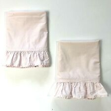 "2 Simply Shabby Chic STANDARD Pillowcases Pink Ruffle 20x27"" Cotton"