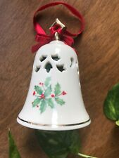 "Vintage Lenox Holiday Holly Pierced Bell Ornament 4"" Tall with Gold Trim Accents"