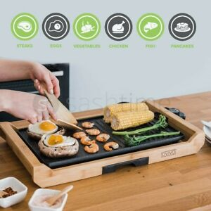 2in1 Electric Teppanyaki Table Top Grill Griddle BBQ Barbecue Garden 2 Spatulas