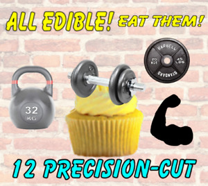 """12 WEIGHT LIFTING Cake Toppers,THICK Wafer Card,1.6"""" high approx,~PRECISION-CUT~"""