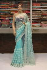 Bollywood Stone & Chikan Work Net Saree Indian Designer Sari Bridal Party Dress