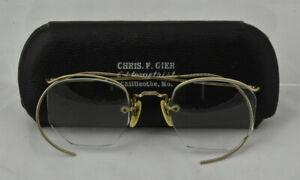 Antique Silver Rimless Eyeglasses Frames Gold Filled Vintage Glasses