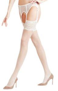Falke Womens Seidenglatt 15 Den Hold Up Transparent Stockings - Off White