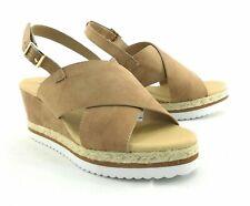 Diba Womens Brown Slingback Open Toe Wedge Heel Sandal Buckle Closure Summer