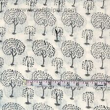 5 Yard Tree Printed Indian Voile Natural Cotton Sanganeri Running Jaipuri Fabric