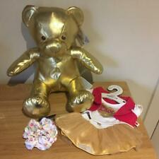BUILD A BEAR FACTORY GIFT OF GOLD BEAR & VALENTINE TUTU OUTFIT BNWT