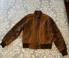 Vintage Midway Genuine Leather Jacket Biker Bomber Flight Brown Men's 40