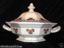 WEDGWOOD ENGLAND TRELLIS ROSE OCTAGONAL COVERED VEGETABLE BOWL BLUE PINK FLORAL