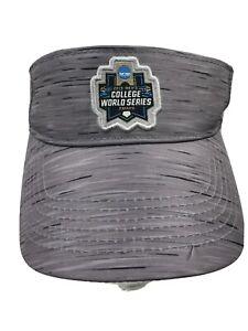 Men's Gray COLLEGE WORLD SERIES 2019 OMAHA NCAA Visor Hat, Adjustable Strap, GUC