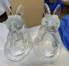 Pair Of Glass Easter Bunnys With Egg