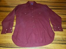 Pendleton Western Wear Shirt Medium Wool Pearl Snap Maroon Solid