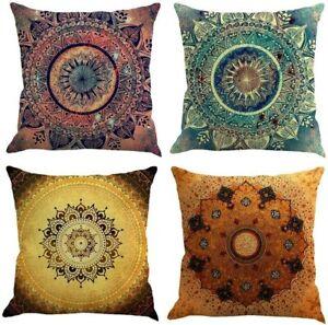 Home Decor - Set of 4 Mandala Throw Pillow Covers - 45 x 45 cm Boho Cushions