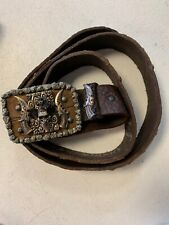 "I.V.Y. Skull Belt Buckle Size 46 Genuine Leather Belt ""Dark Knight"""