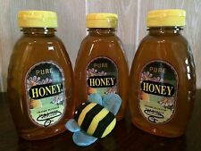 3-1 lb jars RAW Wildflower Honey All Natural.RICH FLAVOR,delicious Unheated