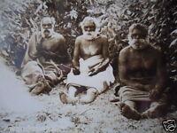 ANTIQUE VINTAGE OLD PHOTO POSTCARD SEMI TRIBAL ABORIGINAL MEN CAMP ROSE SERIES