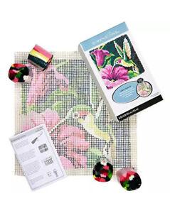 Dimensions Colorful Hummingbird Latch Hook Craft Kit, 16'' x 16'' New