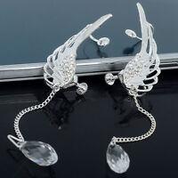 Angel Wing Crystal Long Tassle Earrings Drop Dangle Silver Ear Stud & Cuff Clip