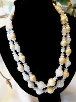 Miriam Haskell 2-Strand White & Cream Glass Necklace with Pretty Clasp ~ LOVELY!