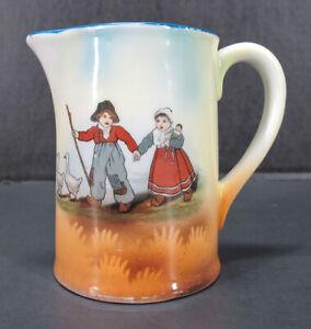 Antique Austrian Wooden Shoe Boy & Girl w/Walking Stick Geese & Doll Creamer yqz
