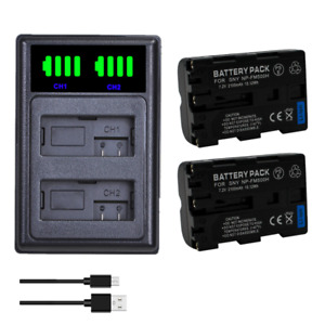2X NP-FM500H Battery +LCD Dual Charger For Sony A500/A550/A560/A580/A700/A99/A85