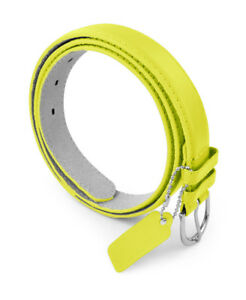Women's Basic Leather Belt - Faux Leather Belt w/ Polished Buckle by Belle Donne