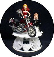 Sexy RED  bride dress Wedding Cake Topper w/diecast Harley Davidson Motorcycle