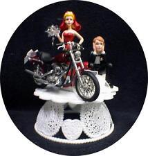 Sexy RED  bride dress Wedding Cake Topper w/diecast Harley Davidson Motorcycle