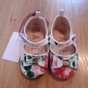 Ted Baker Baby Girl Pram Shoes Padders Floral White 18-24 months/1.5-2 Years
