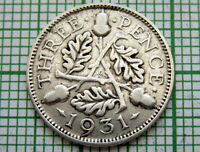 GREAT BRITAIN GEORGE V 1931 THREEPENCE 3 PENCE, SILVER