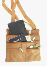 "Tan Women's  Leather Cross Body Bag Satchel Messenger Bag 48"" Strap"