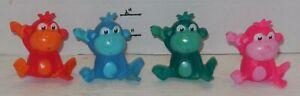 Lot of 4 Plastic Bath toys pink Orange Blue Green Monkey Pretend Play