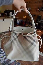 Burberry Nova Check Coated Canvas Medium Gradient Bag White Patent FREE SHIP!