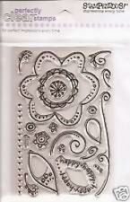 STAMPENDOUS RUBBER STAMPS CLEAR FLORAL FLOURISH STAMP SET