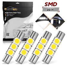 4x White 29mm 5050 3-SMD 6641 Fuse LED Visor Vanity Mirror Lights