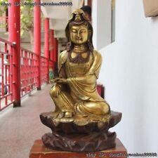 Chinese Buddhism Bronze Quan Yin Guanyin Kwan-yin Bodhisattva Goddess Statue