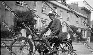 Old Negative.Man On A Douglas Motorbike.1920.Reg No.AE 9329.Girder Forks.0490
