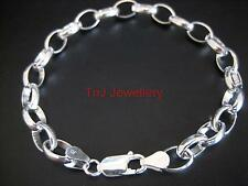 BRAND NEW Genuine Solid 925 Sterling Silver Oval Belcher Bracelet Best Quality