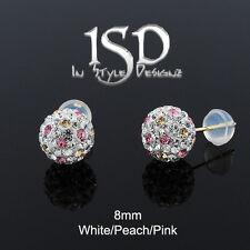 14k Yellow Gold 8mm White Peach Pink Austrian Crystal Ball Studs Earrings