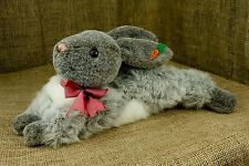"Laying Down Grey Bunny Rabbit Carrot Ear Stuffed Plush Easter Toy Lovey 14"" P29"
