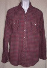 Plaid Vintage Pearl Snap Button long sleeve shirt size Large by VIP