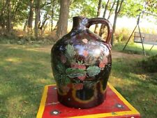 "Nice Antique Stoneware Jug in Manganese Glaze & Folk Art Painting w/ Incised ""G"""