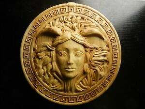 Wood carved picture wall decoration plaque. Medusa from Greek mythology.